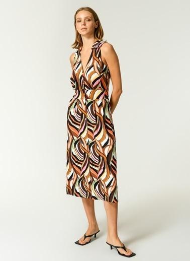 NGSTYLE Kadın Desenli Düğme Detaylı Elbise NGSS21EL0062 Renkli